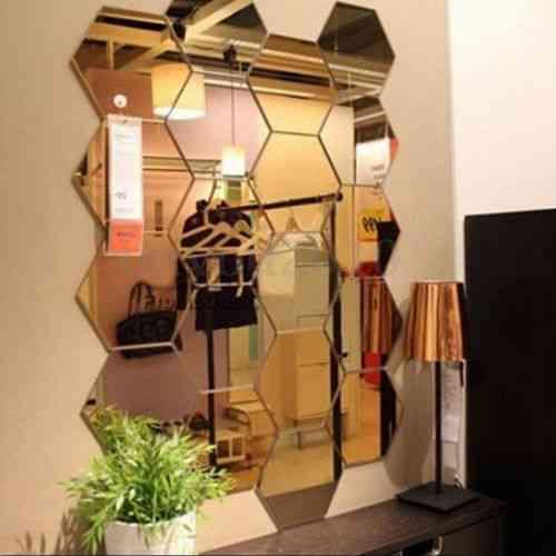 Wangscanis 3d Mirror Hexagon Acrylic Removable Wall Sticker Decal For Decor