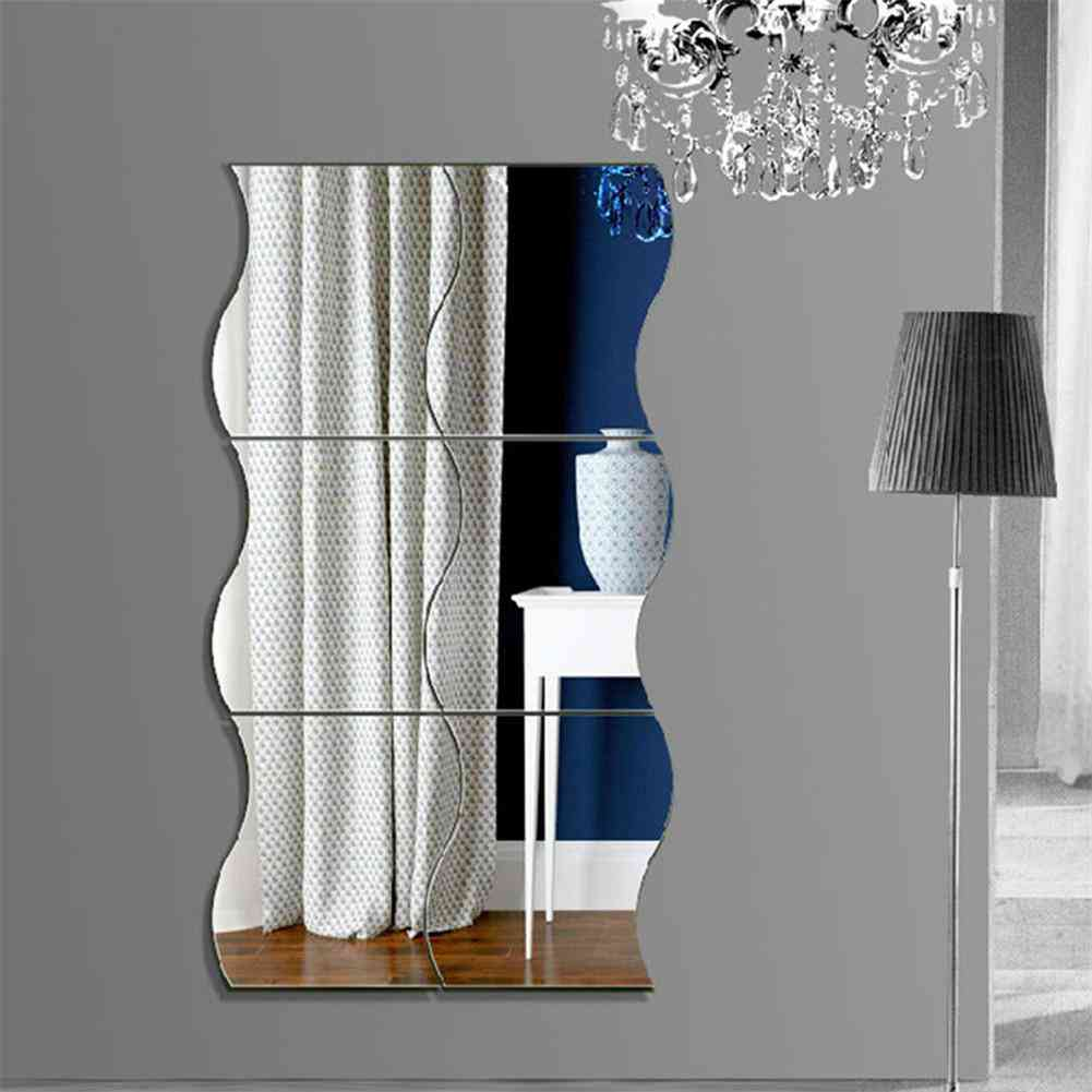 6pcs 3d Wave Acrylic Mural Decal Removable Stickers For Living Room Decoration Wall