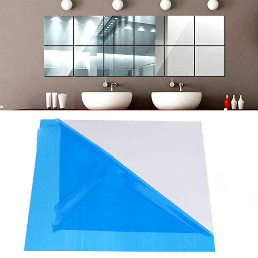 16 Pcs Mirror Tile Wall Sticker - Square Self Adhesive Room Decor Stick On Modern Art Room, Bathroom