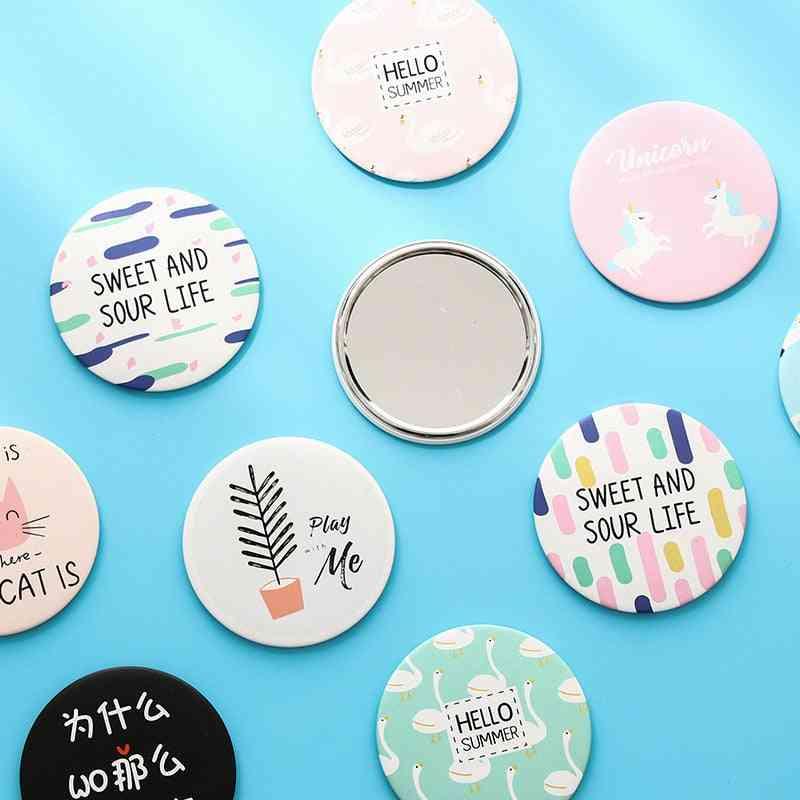 Cute Mirror Cartoon Personality Fashion Portable Round & Mini For Makeup