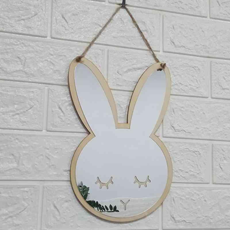 Wooden Acrylic Home Furnishing Wall Decor Mirror For Baby Room &'s Creative Decoration Cartoon Bunny Wall Mirror