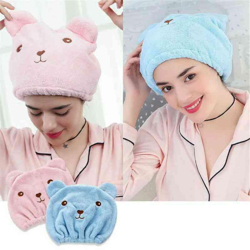 Microfiber Solid Quickly Dry Hair Hat, Hair Turban Women Ladies Cap Bathing Drying Towel Head Wrap Hat Cat Ears Pattern