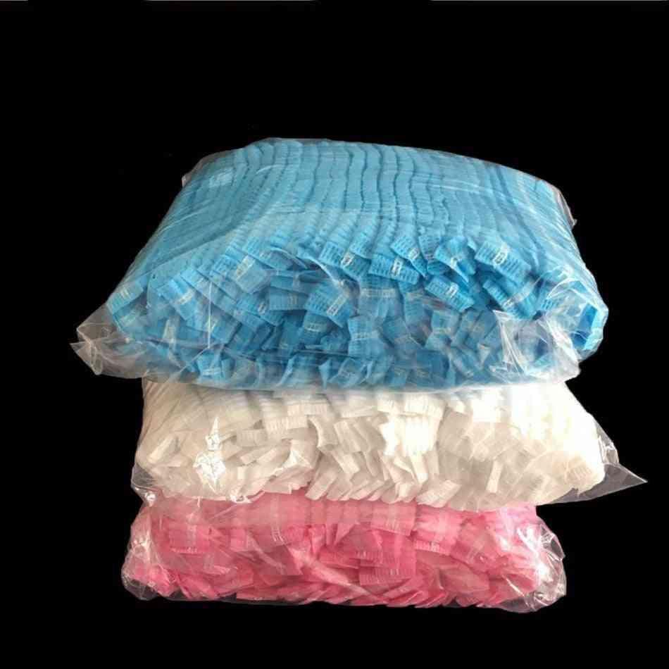 Double Ribbon Non Woven Disposable Shower Caps Pleated Anti Dust Hat Women Men Bath For Spa Hair Salon Beauty Accessories