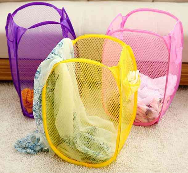 Large Capacity, Foldable, Net And Pop Up Design-laundry Basket For Clothes