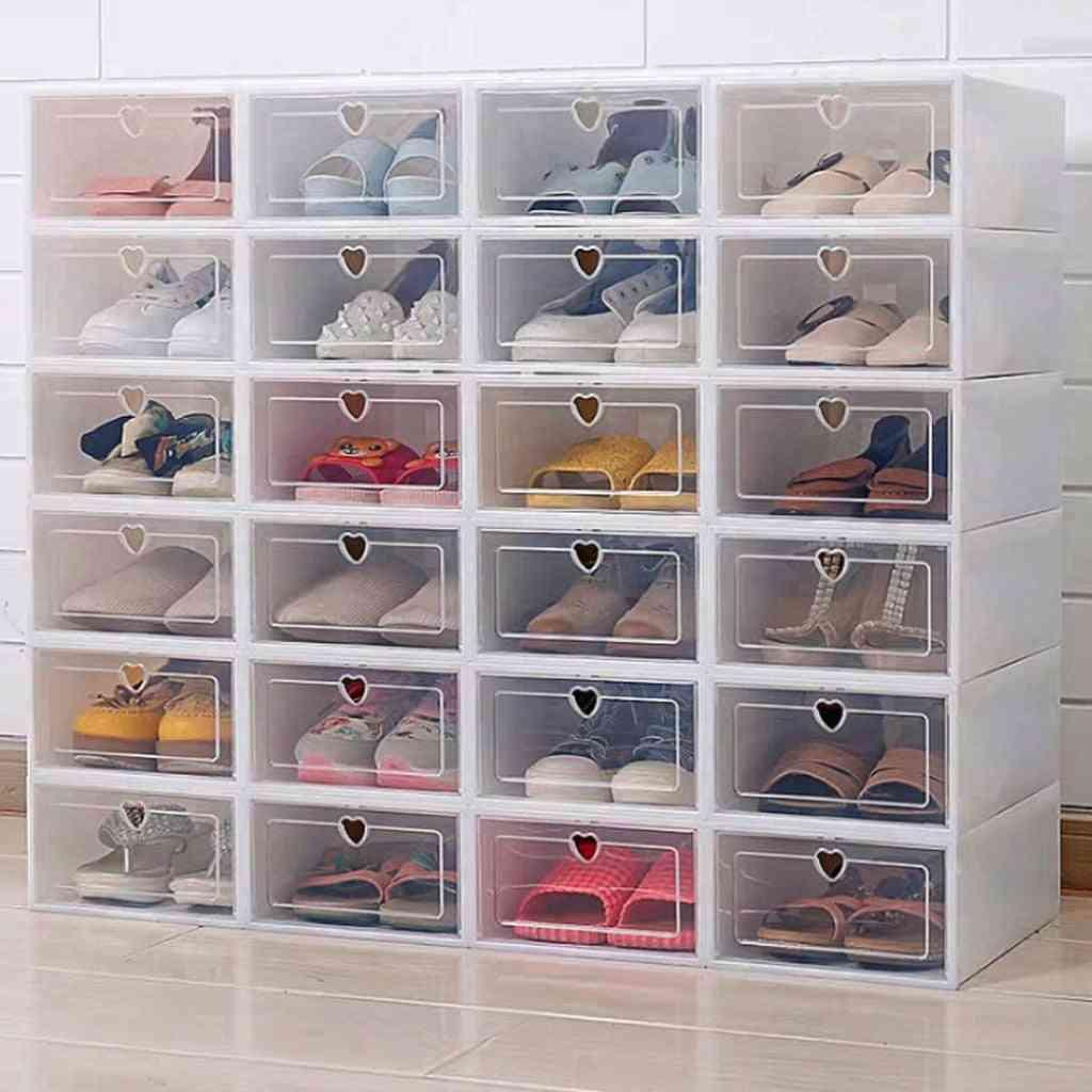 Flip Shoes Box, Thickened Transparent Drawer Case Plastic Shoe Boxes, Stackable Box Shoe Organizer Rack