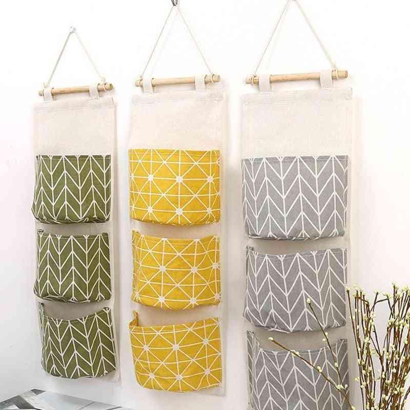 Cotton Linen Wall Hanging Storage Bags, Door Pouch, Bedroom Home Decor