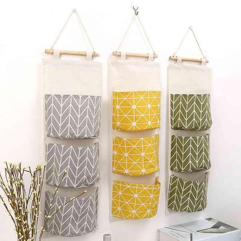Multilayer Fashion Wall Door Cotton Hanging Organizer, Pockets Storage Bag