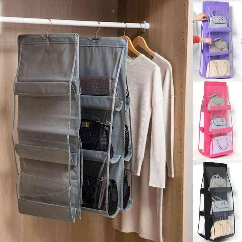 6 Pocket Foldable Hanging Bag, Purse, Handbag Organizer Storage Closet Hanger