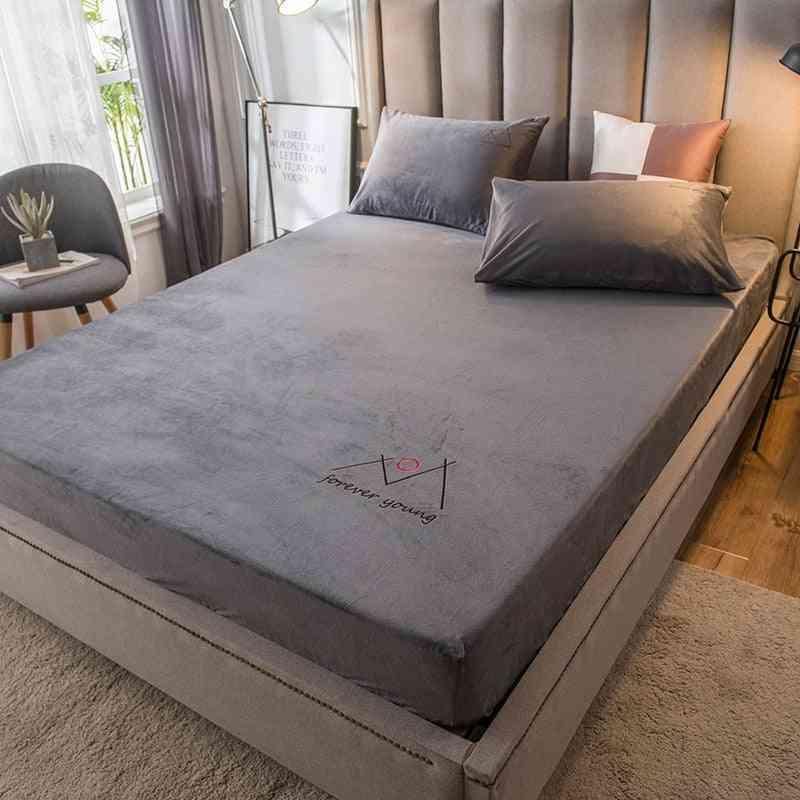 Solid Color Coral Velvet Fitted Bed Sheet Mattress Protective Cover, Warm Soft Bed Linen Coverlet