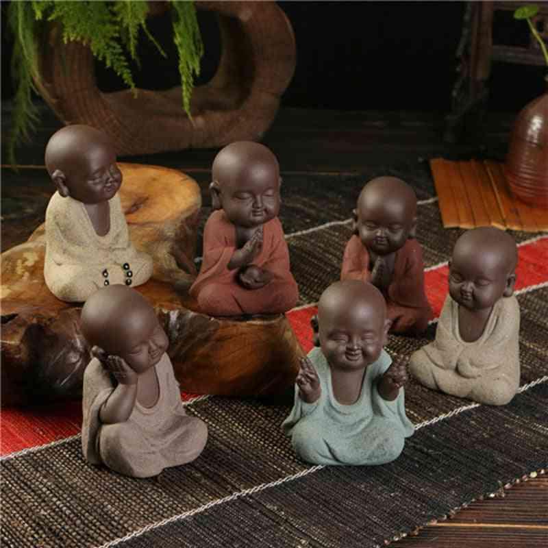 Hand-made Buddha Statue - Small Monk Sand Geomantic Home Decoration Figurines