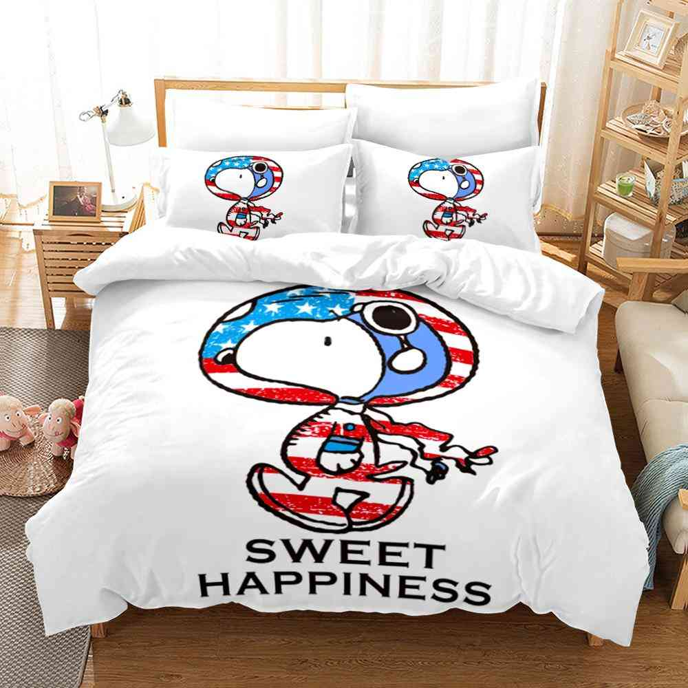 Children Cartoon Printed Quilt Cover And Pillowcase, No Sheets
