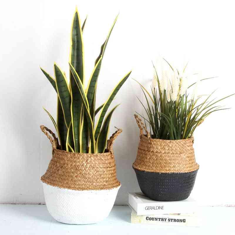 Seagrass Folding Handmade Decorative Rattan Plant Flower Pot, Storage Basket