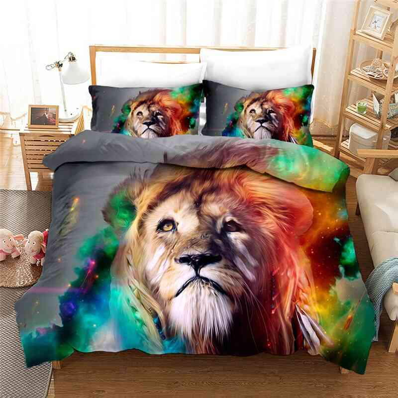 3d Animal Wolf/lion Printing Bedding Sets, Quilt Cover And Pillowcase