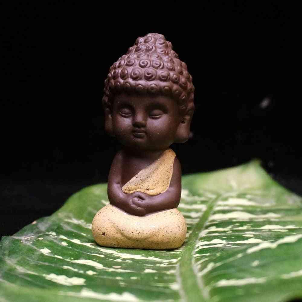 Small Buddha, Ceramic Statue - Monk Figurine
