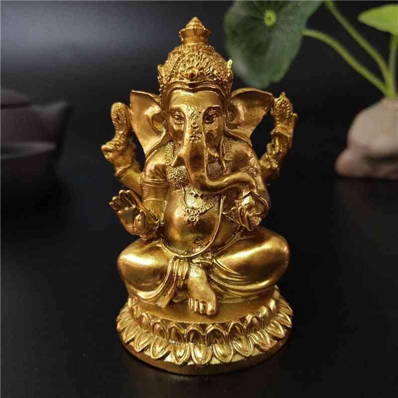 Golden Ganesha Statue - Buddha Elephant God Sculpture, Ganesh Figurines Resin Craft
