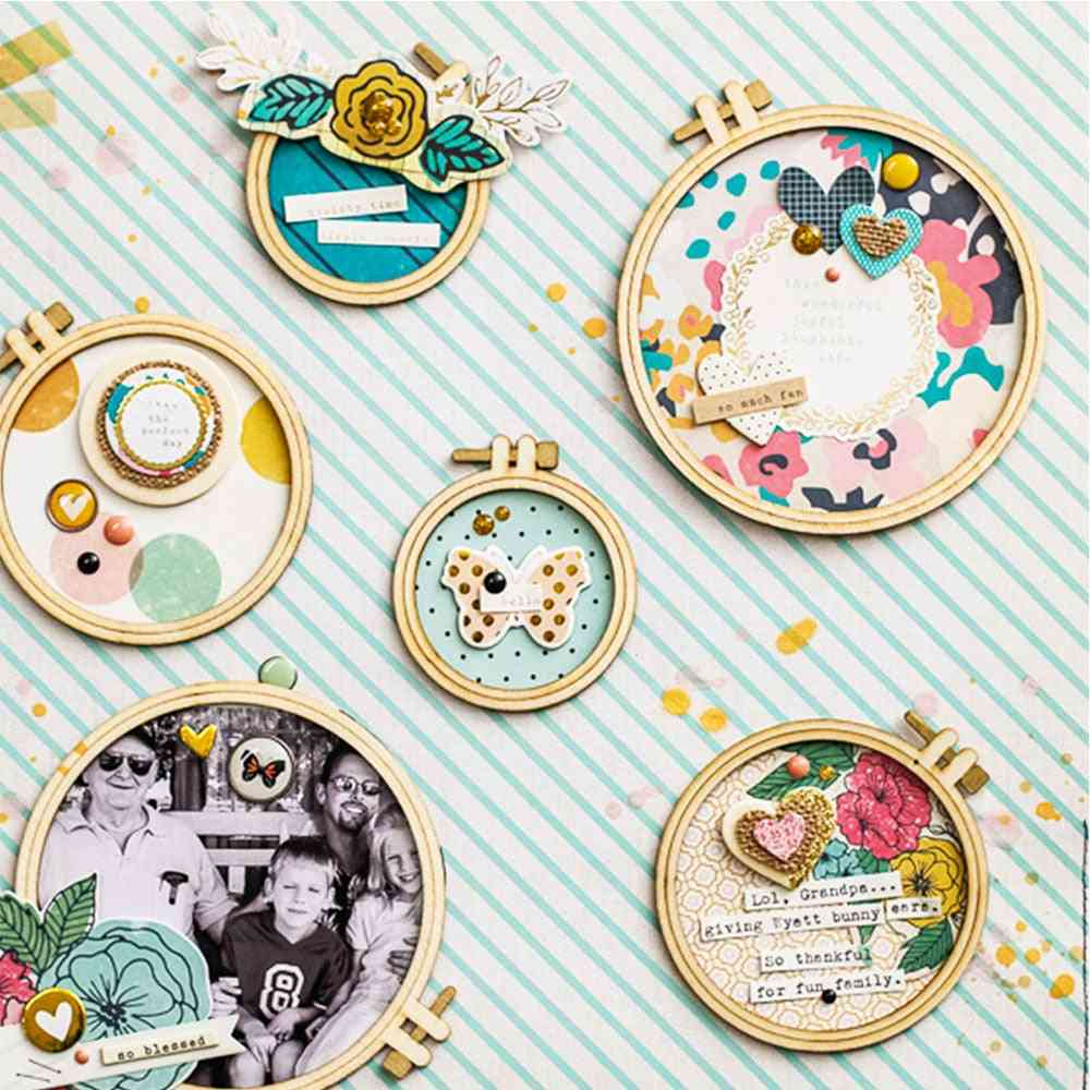 Plywood Embroidery Hoops 24pcs Scrapbooking Card Craft Embellishments