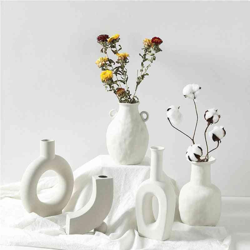 Creative Nordic Ceramic Vase Home Decorations Craft Ornament - White Vegetarian Ceramic Flower Pot Vases