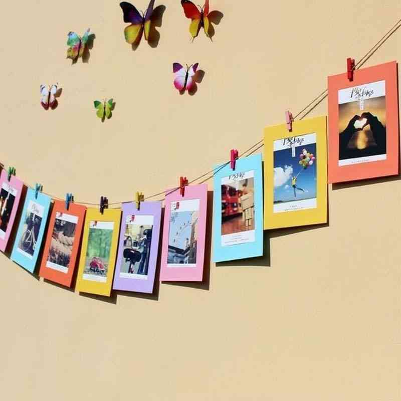 Colored, Rectangle Shape Paper For Photo Frame With Clips