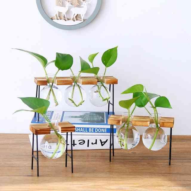 Hydroponic Plants Home Decorative Wooden Base Craft Vase - Bonsai Flowerpots