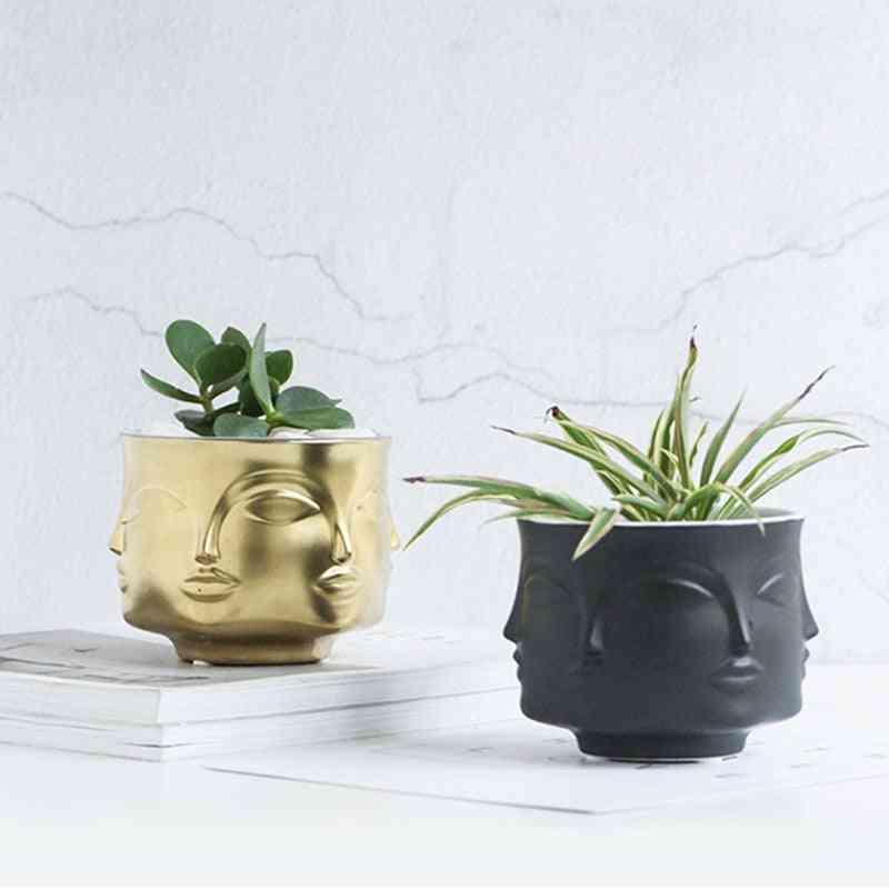 Man Face Home Decor Flower Vase - Modern Ceramic Vase For Flowers Pot Planters