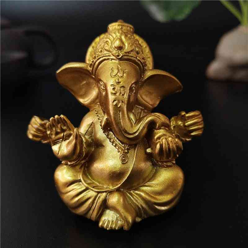 Gold Lord Ganesha Buddha Statue - Elephant God Sculptures Man-made Stone Home, Garden Decoration Statues