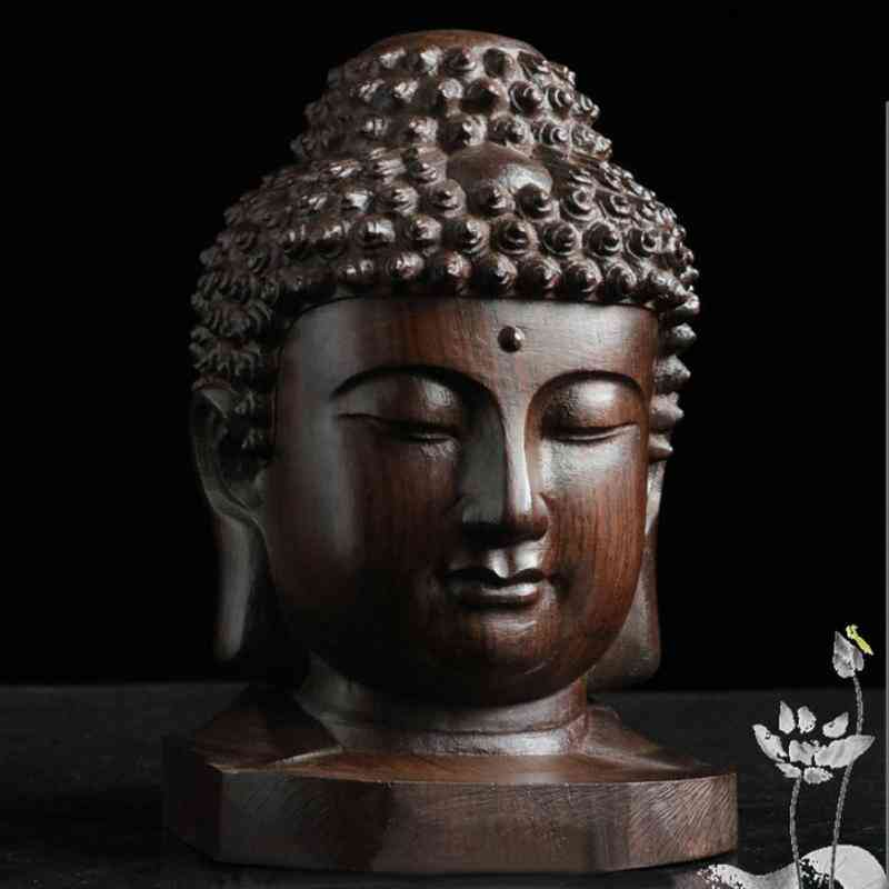 Buddha Wooden Sakyamuni Tathagata Figurine- Mahogany India Buddha Head Statue