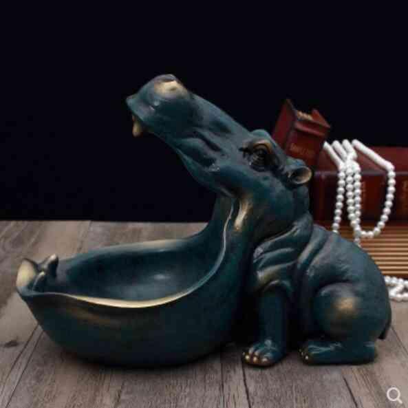 Hippopotamus And Fish Resin Artware Sculpture - Container Statue For Decoration