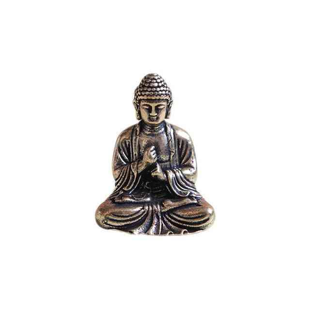 Mini Portable, Vintage Buddha Statue -sitting Sculpture