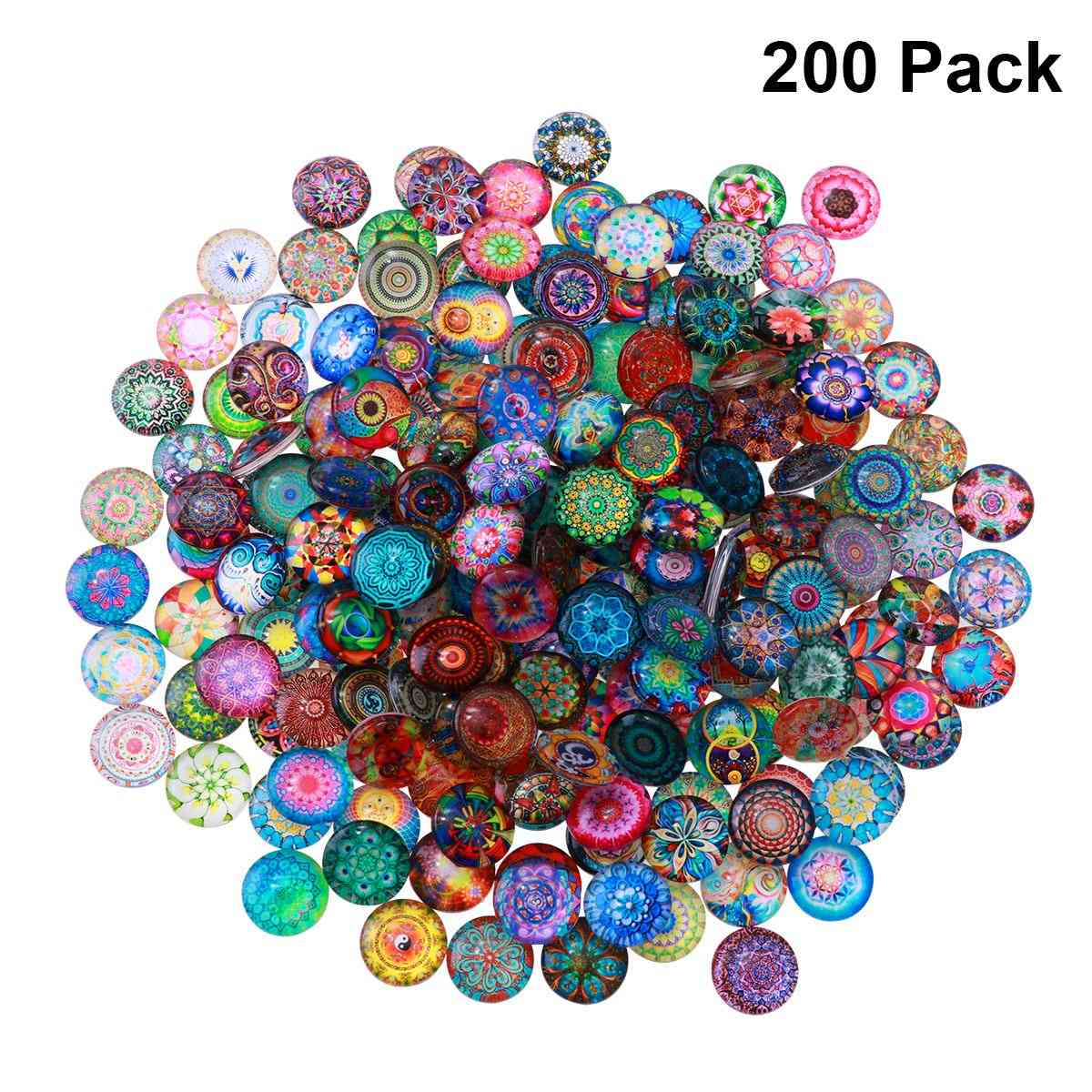 Mixed Round Mosaic Tiles Glass Decoration For Crafts, Jewelry Making