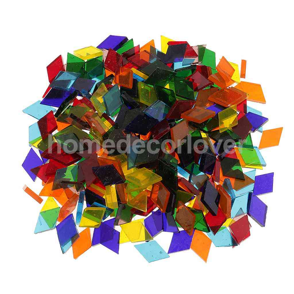 Assorted Colors Clear Glass Mosaic Making Tiles, Tessera For Puzzle Arts