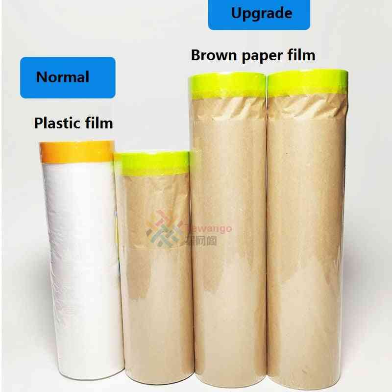 New Material Paint Masking Plastic Kraft Paper Film, Barrier Car Renovation Protective Tapes