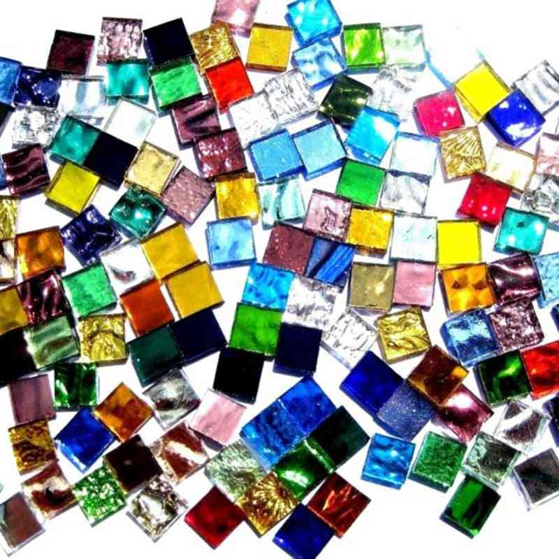 Assorted Color Square Clear Glass Mosaic Tiles For Diy Crafts Making