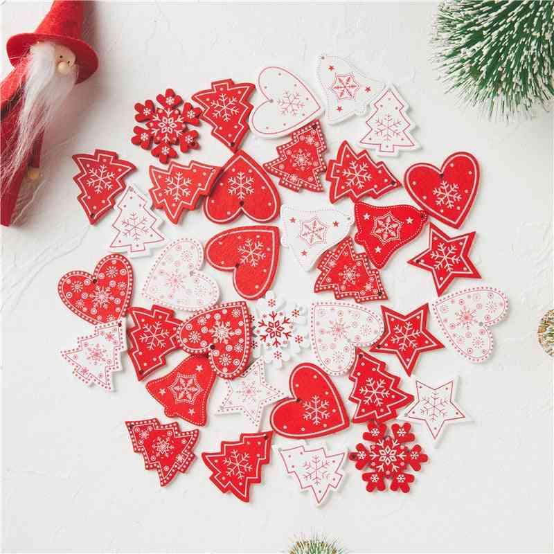 Natural Wood Christmas Ornaments Pendants ,hanging Xmas Tree - Home Decoration