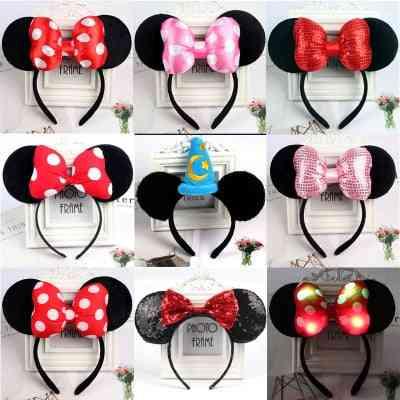Cute Mickey Mouse Headband Pink Ear Headband - Bow Hair Accessories For Birthday Party Celebration