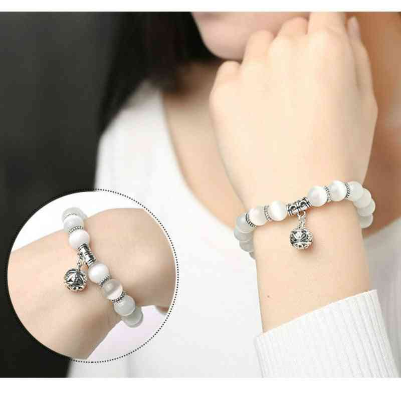 Weight Loss Magnet White Cat Eye Beads Bracelet, Anklet Weight Loss Health Care