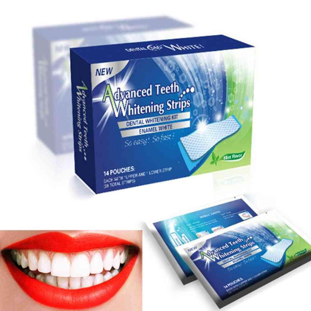 3d Gel Teeth Whitening Strips White Tooth Dental Kit - Oral Hygiene Care Strip For False Teeth Veneers