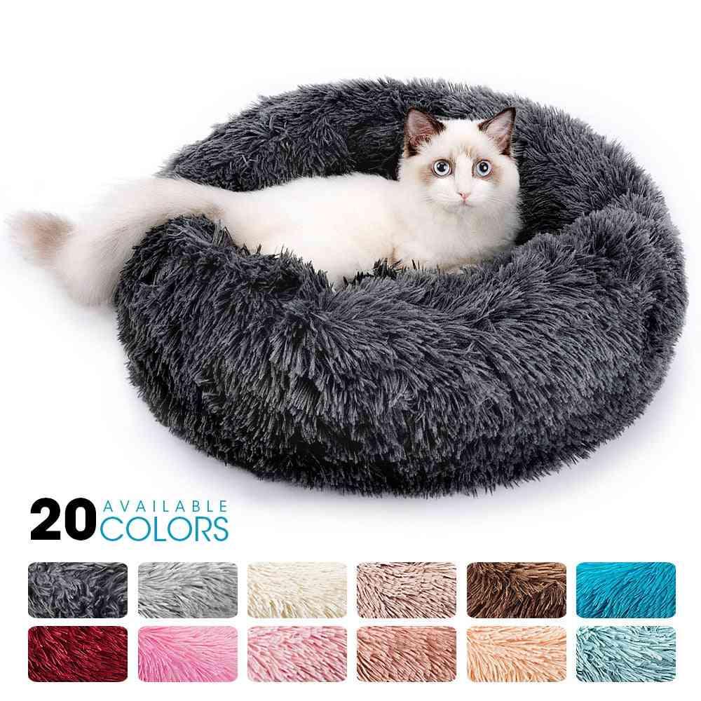 Round Plush Cat Bed House Cat Mat Winter Warm Sleeping Cats Nest, Soft Long Plush Dog Basket Pet Cushion Portable Pets