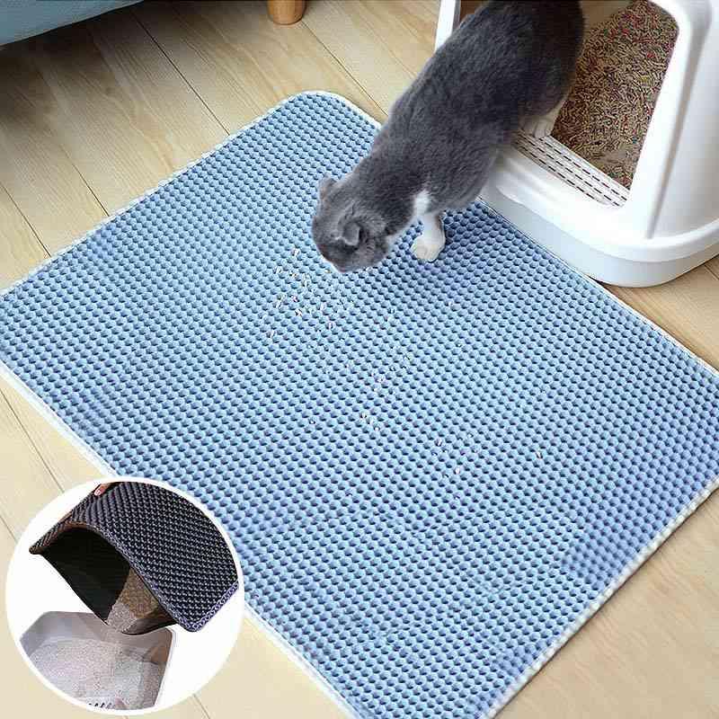 Waterproof Pet Cat Litter Mat Foldable Double Layer Cats Mat Bottom, Non Slip Pet Litter Cat Mat Layer Pet Litter Catcher Mat