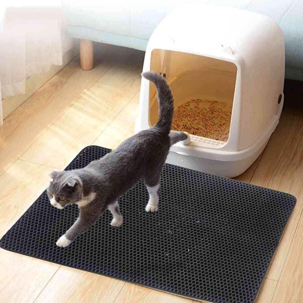 Cat Litter Mat Double Layer, Pet Cat Litter Trapper Mats With Waterproof Bottom Non Slip Pet Cat Mat Layer