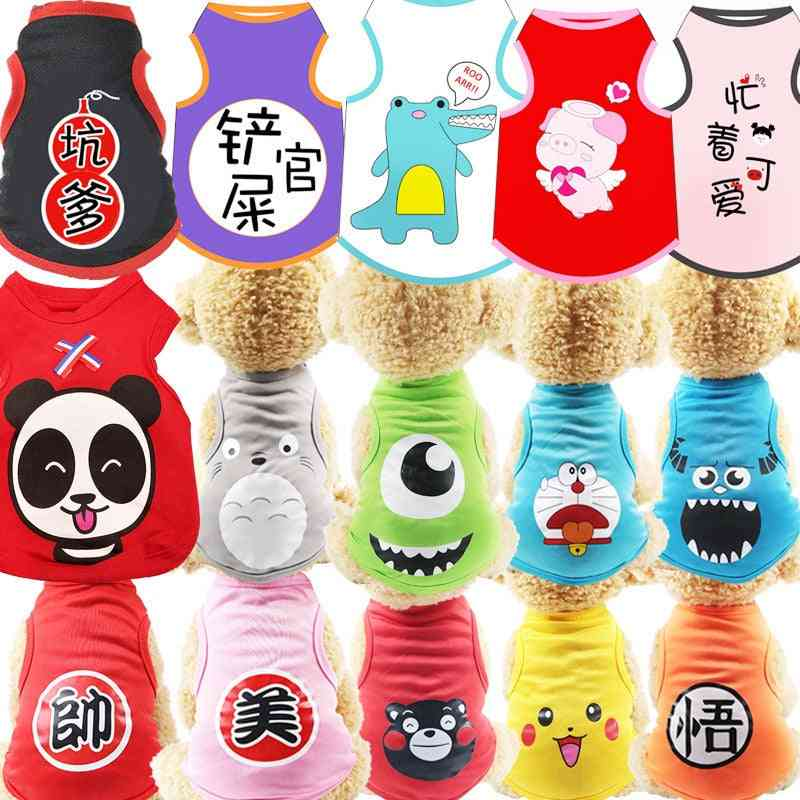 Soft Puppy Dogs Clothes Cute Pet Dog Clothes Cartoon Clothing Summer Shirt Casual Vests For Small Pet Supplies