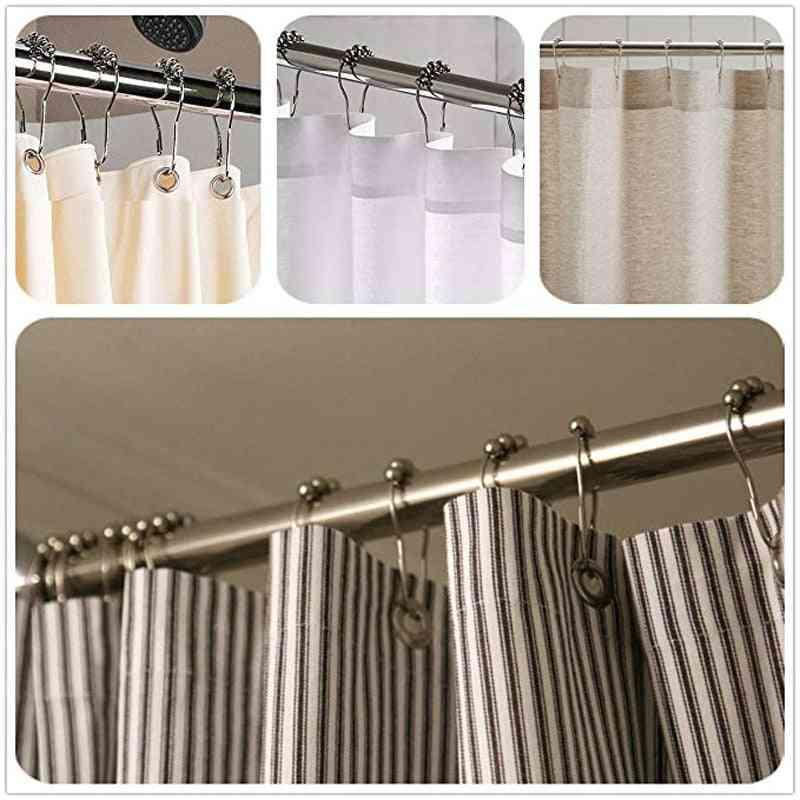 Stainless Steel, Rollerball Shower Curtain Rings/hooks-12pcs