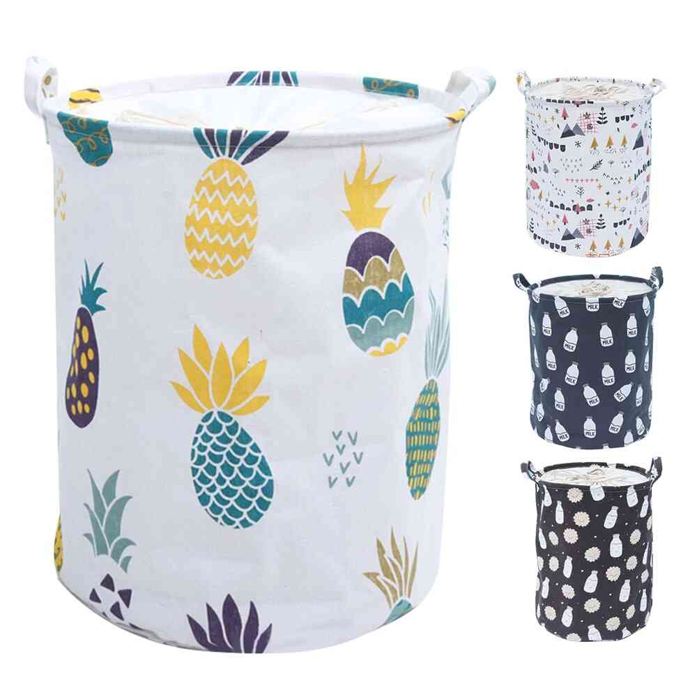 Large Laundry Basket With Drawstring Round For Dirty Clothes ,toys - Folding Bucket, Anti Dust Big Storage Bag