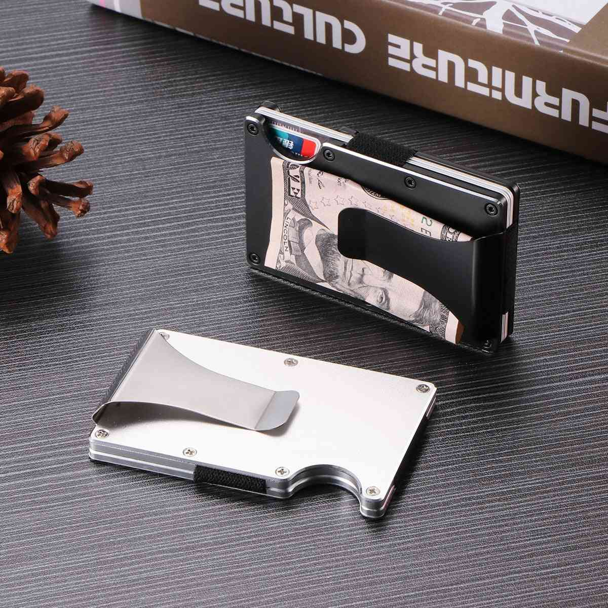 Carbon Fiber Wallet Money Clip - Metal Card Pack Wallet Thin Bills Cash Clips