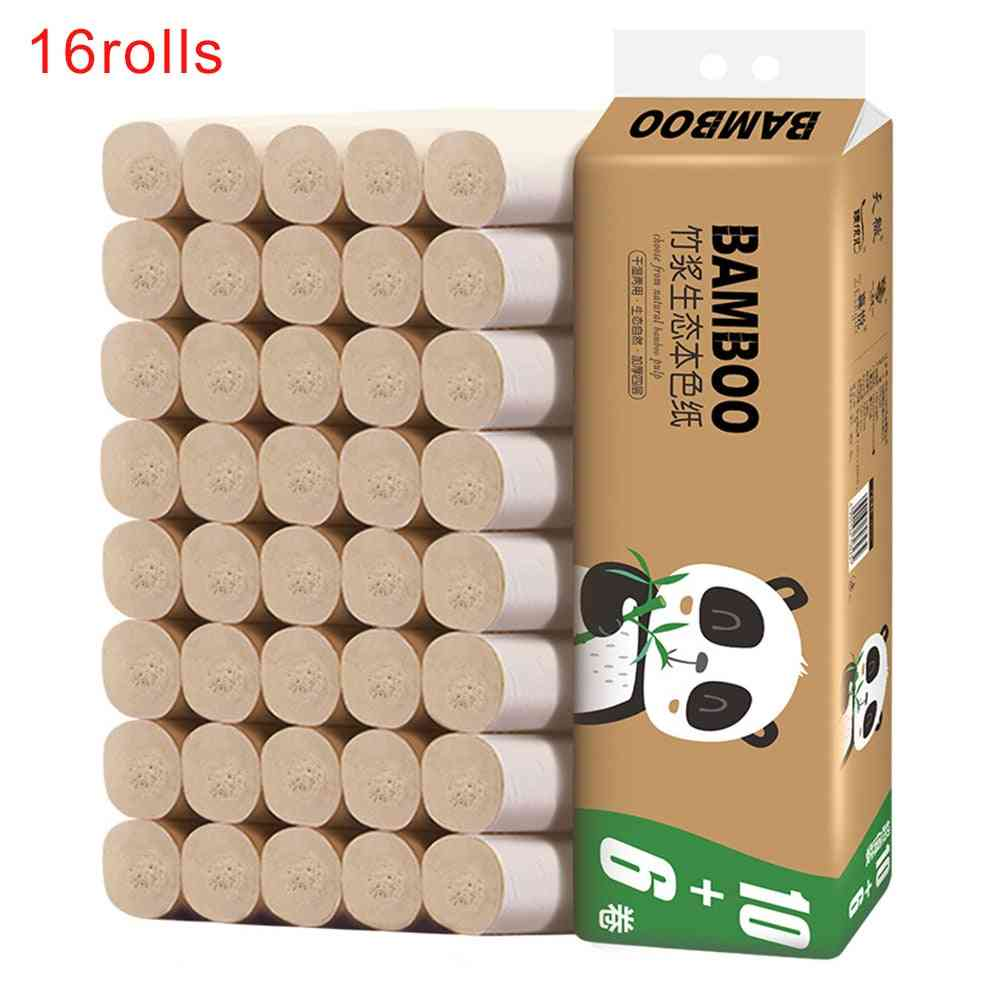Easy Dissolution Soft Office School No Irritation 4 Layers Thickened Embossing Toilet Paper Bamboo Pulp Coreless