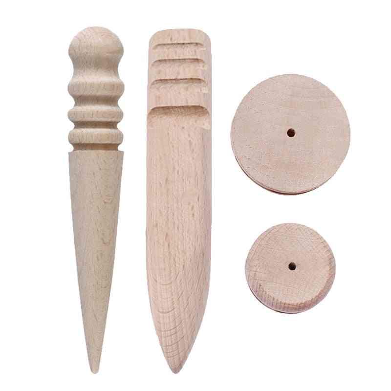 Multi-size Wood Slicker For Polished Edge Leathercraft Working, Round Burnishing Edge Tool