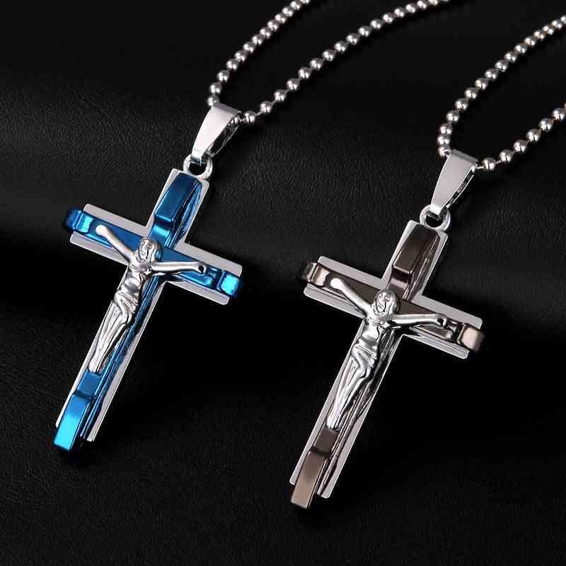 Jesus Men's Cross Necklace - Stainless Steel Jewelry, Christmas Present