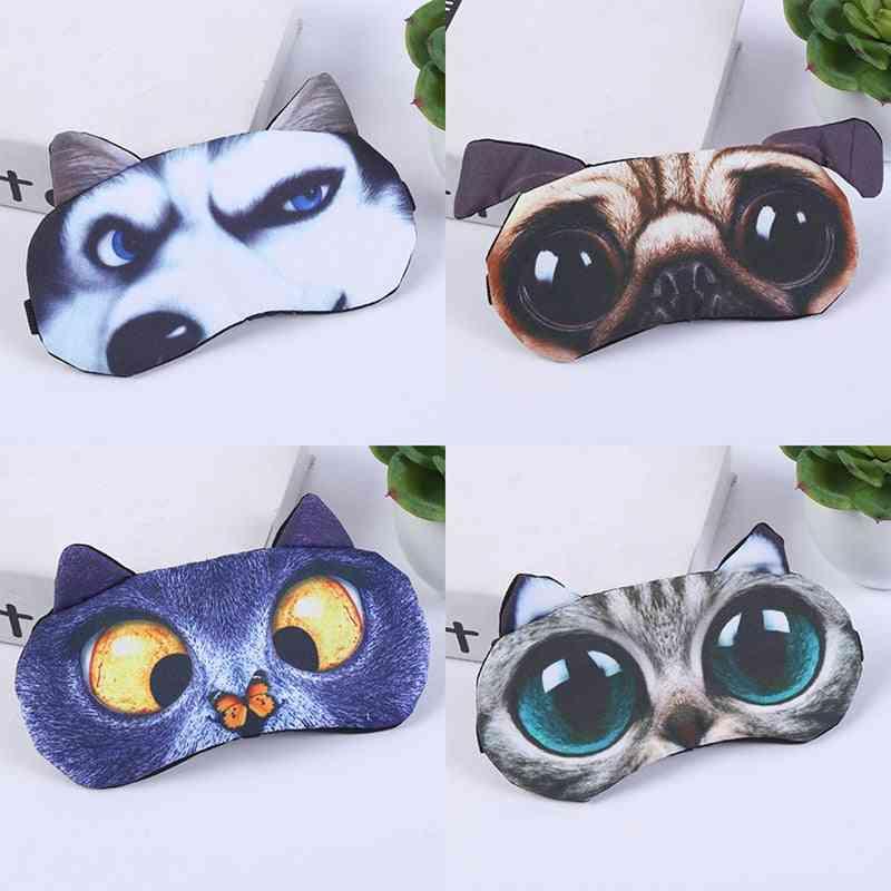 Eye Mask ,eyeshade  Soft  Blindfold Cover - Natural Sleeping Eye Patch Of Cute Cat ,dog For Women / Men