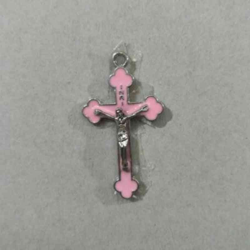 Pink Color, Drop Oil Alloy-religious Cross Pendant