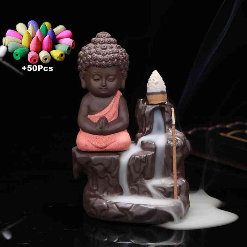 The Little Monk Small Buddha Censer Backflow Incense Burner With Incense Cones Set
