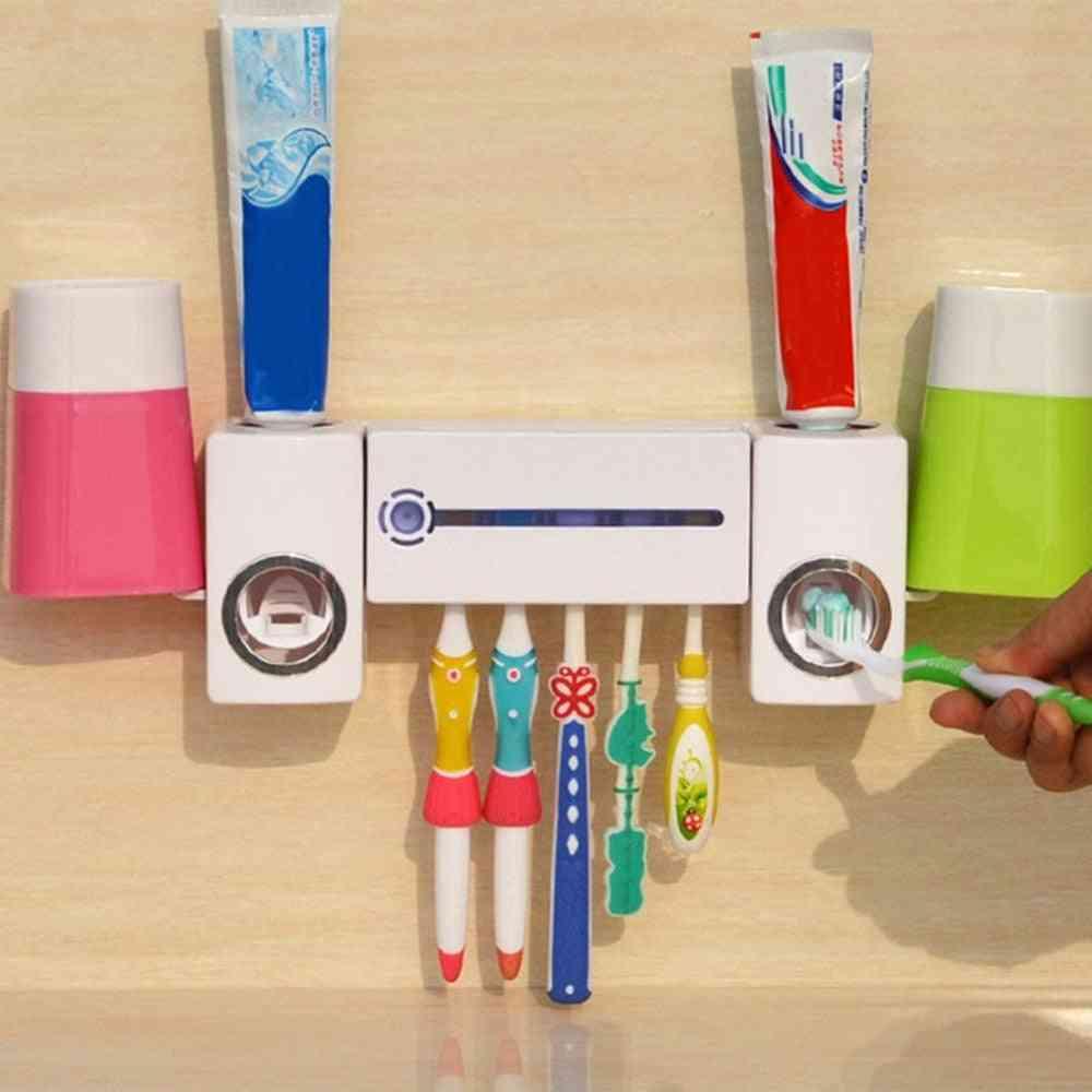 Practical Antibacteria Uv Light Ultraviolet Toothbrush- Dispenser Sterilizer Bathroom Toothbrush Holder Cleaner With 2 Cups